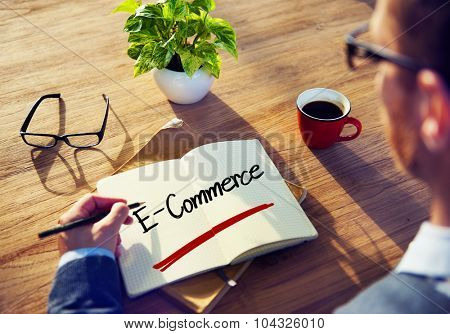 Man Writing E-Commerce Online Marketing Sale Global Business