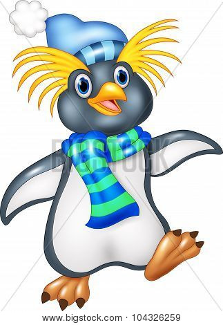 Penguin is standing use a shawl and hat cap