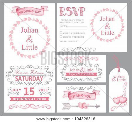 Watercolor wedding invitation set.Pink,swirling decor