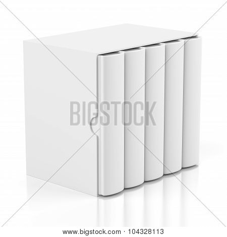 Five Books In Cardboard Box Cover On White