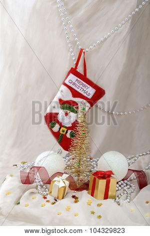 Card New Year Metallic Fir And Gifts And Stock