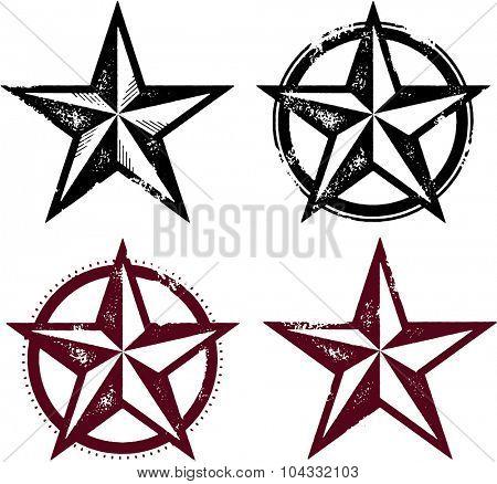 Vintage Distressed Western Stars