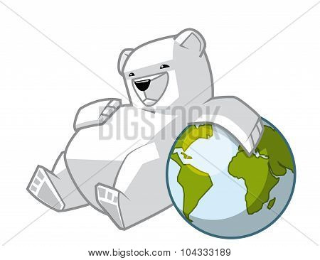 Polar Bear Leaning On The Globe