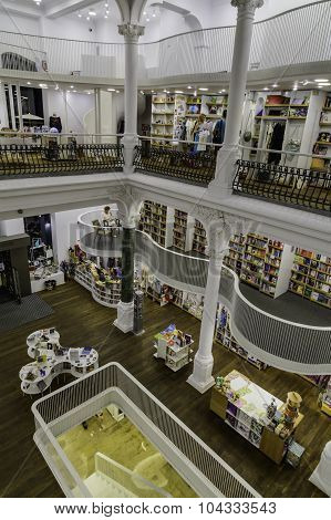 Bucharest, Romania - September 27, 2015: People Shopping For Literature Books In Carturesti Library