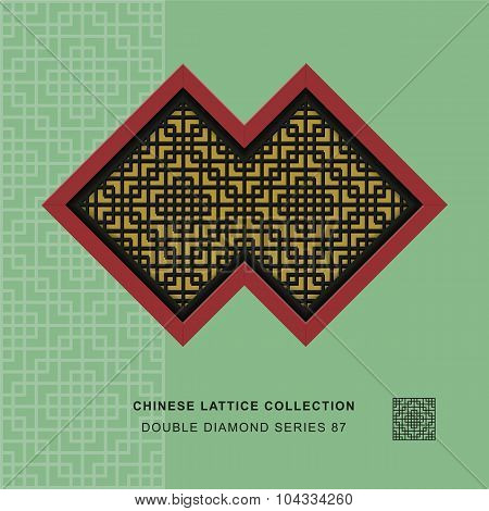 Chinese window tracery double diamond frame square check