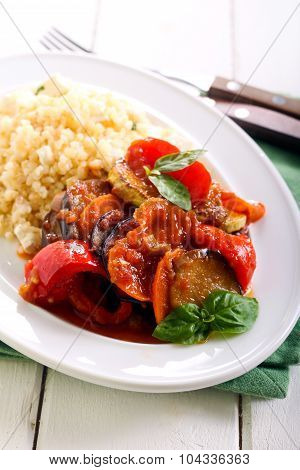 Ratatouille With Sauce On Plate