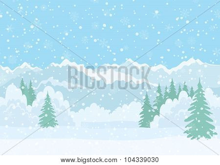 Christmas landscape, night winter forest