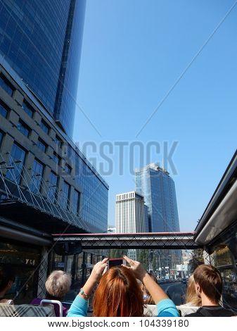 Kiev, Ukraine, September 25, 2015. Bus tour of the streets of Kiev.