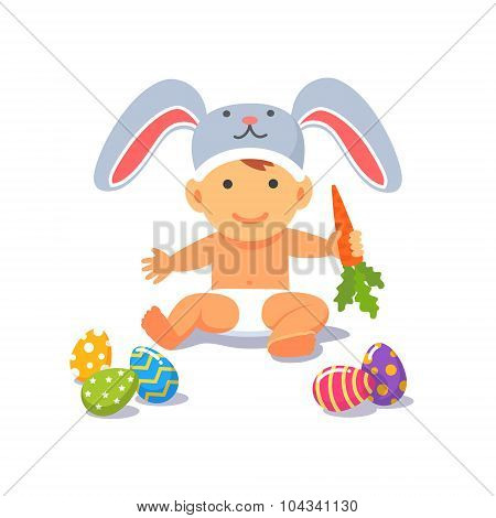 The Easter baby. Child toddler in the rabbit hat