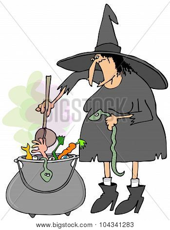 Witch making soup in a cauldron
