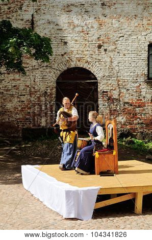 Street Musicians On The Square In Vyborg Castle