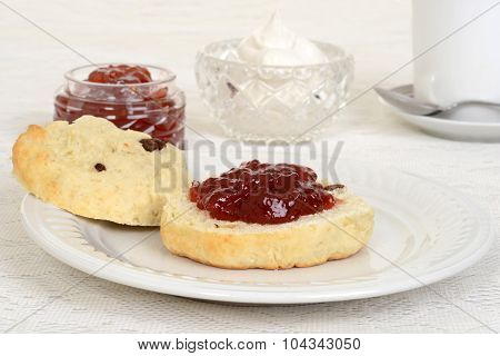 scone with strawberry jam