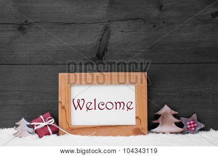 Gray Frame With Christmas Decoration, Snow, Welcome