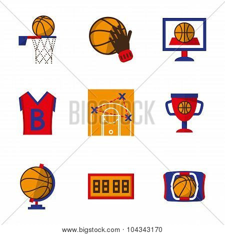 Team sport vector icons set. Basketball