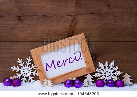 Purple Christmas Decoration, Snow, Merci Mean Thank You