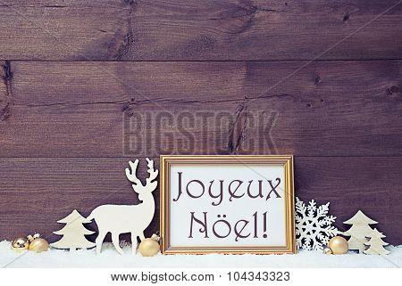 Vintage Card, Snow, Joyeux Noel Mean Merry Christmas