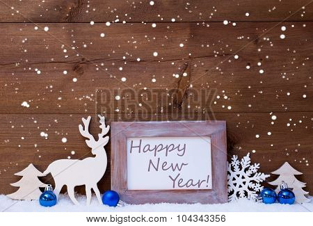 Christmas Card With Blue Decoration, Happy New Year, Snowflakes