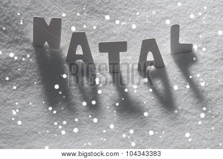 White Word Natal Mean Christmas On Snow, Snowflakes