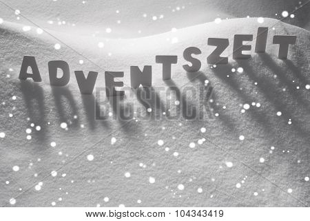 White Word Adventszeit Means Christmas Time On Snow, Snowflakes