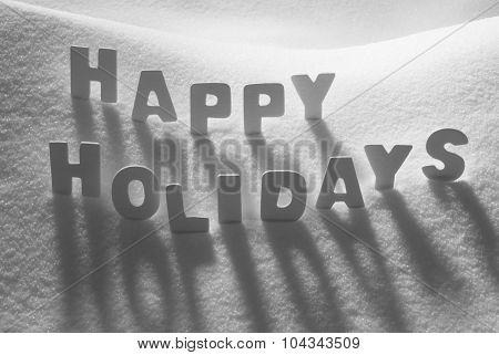 White Word Happy Holidays On Snow