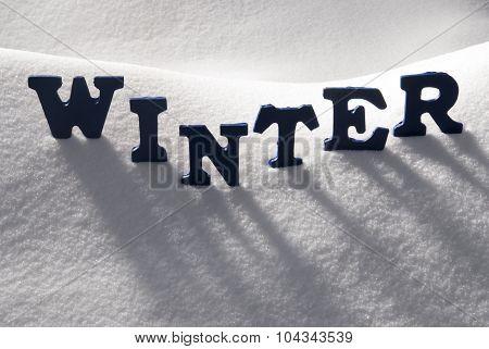Blue Word Winter On Snow