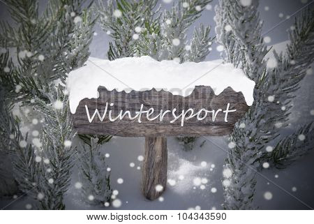 Christmas Sign Snowflakes Fir Tree Text Wintersport