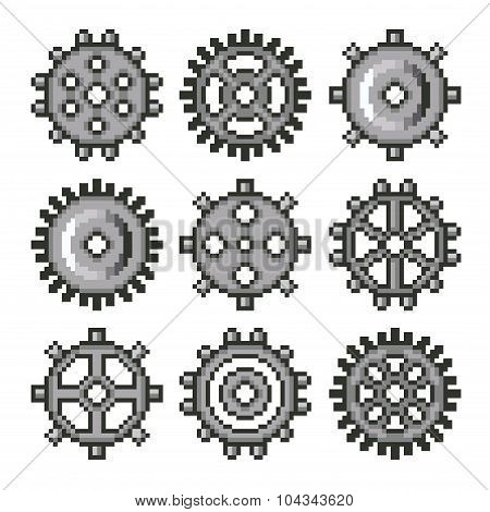 Pixel Gears For Games Icons Vector Set