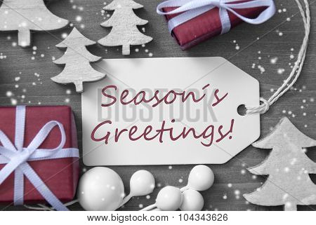 Christmas Label Gift Tree Snowflakes Seasons Greetings