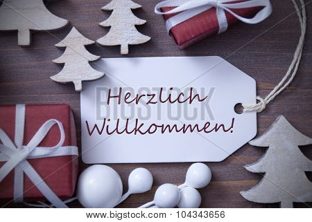 Christmas Label Gift Tree Herzlich Willkommen Means Welcome