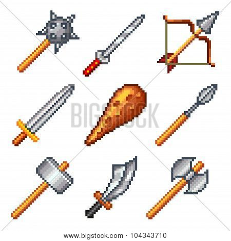 Pixel Weapons For Games Icons Vector Set