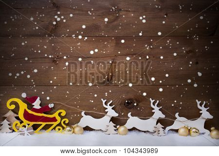 Santa Claus Sled, Reindeer, Snowflakes, Copy Space, Golden Ball