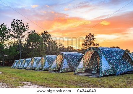 Tents Camping Area At Dusk