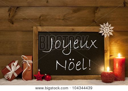 Festive Card, Blackboard, Snow, Joyeux Noel Mean Merry Christmas