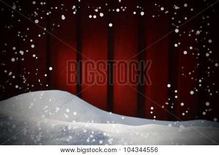 Christmas Card On White Snow With Copy Space And Snowflakes