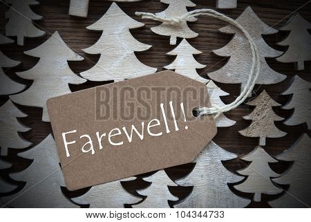 Brown Christmas Label With Farewell