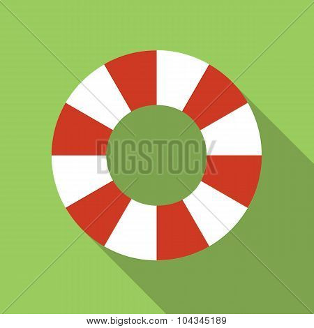 Life-buoy ring colored flat icon