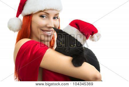 Woman In Santa Claus Hat With Cat Santa - Cute Christmas Cat, Christmas Pet With Santa Claus Hat