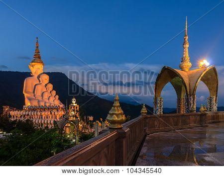 Beautiful View Of Wat Pha Sorn Kaew Illuminated At Twilight In P