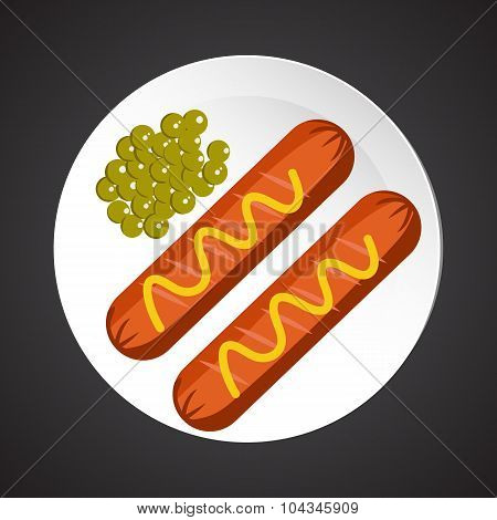 Sausage with peas illustration