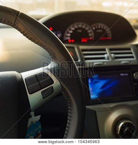 Blank Button Control System On Car Steering Wheel Used For Placed Icon