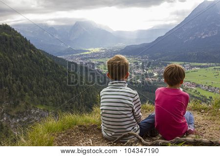 Hiking With Children - View To Loisach Valley