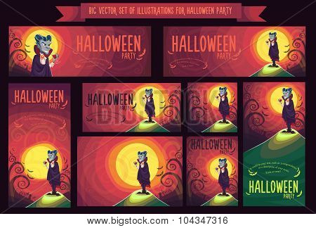 Big Set With Vector Illustration For Halloween Party