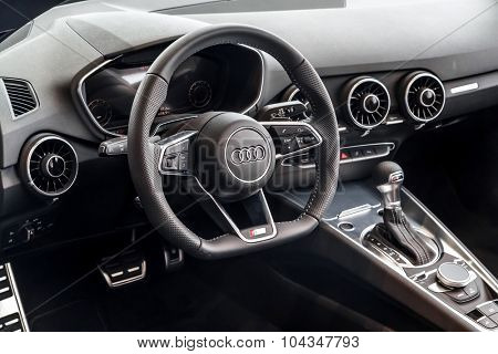 Baden-Baden, Germany - October 10, 2015: New models of the brand Audi in a dealer's showroom in Baden-Baden, Germany. Car interior