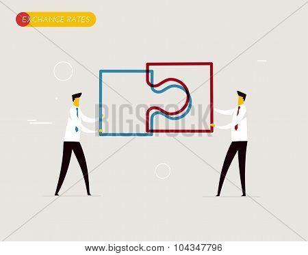 Businessmen connect puzzle.