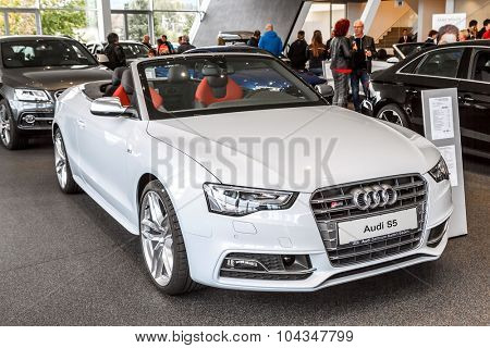 Baden-Baden, Germany - October 10, 2015: New models of the brand Audi in a dealer's showroom in Baden-Baden, Germany