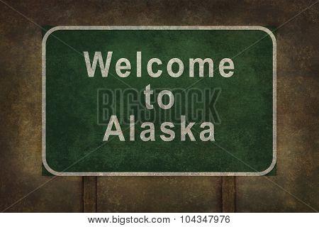 Welcome To Alaska Roadside Sign Illustration