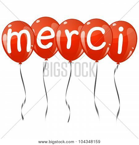 Flying Balloons With Text Merci
