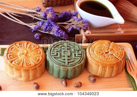 Festival Moon Cake And Tea  - China Dessert Delicious.