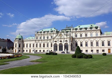 Facade Of Belvedere Palace  In Vienna