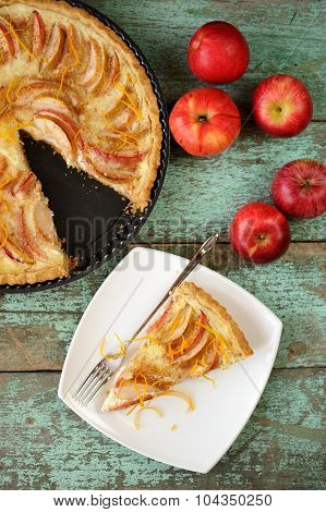 Homemade Apple Tart With Sour Cream And Five Red Fresh Apples Topview